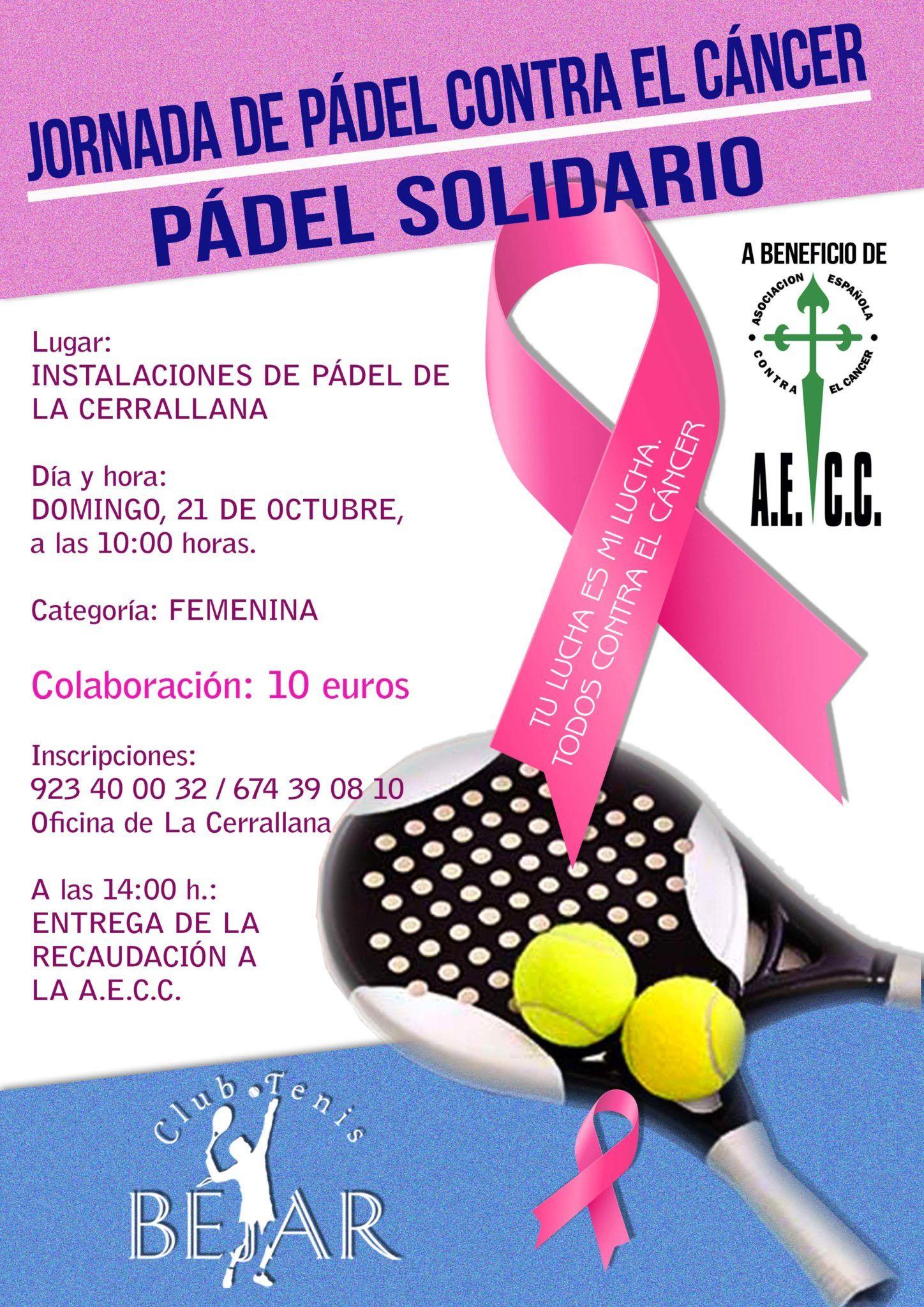 El Club de Tenis Béjar colabora en la organización de la jornada de pádel solidario contra el cáncer