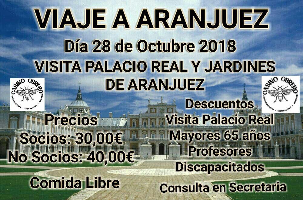 El Casino Obrero de Béjar organiza un viaje a Aranjuez