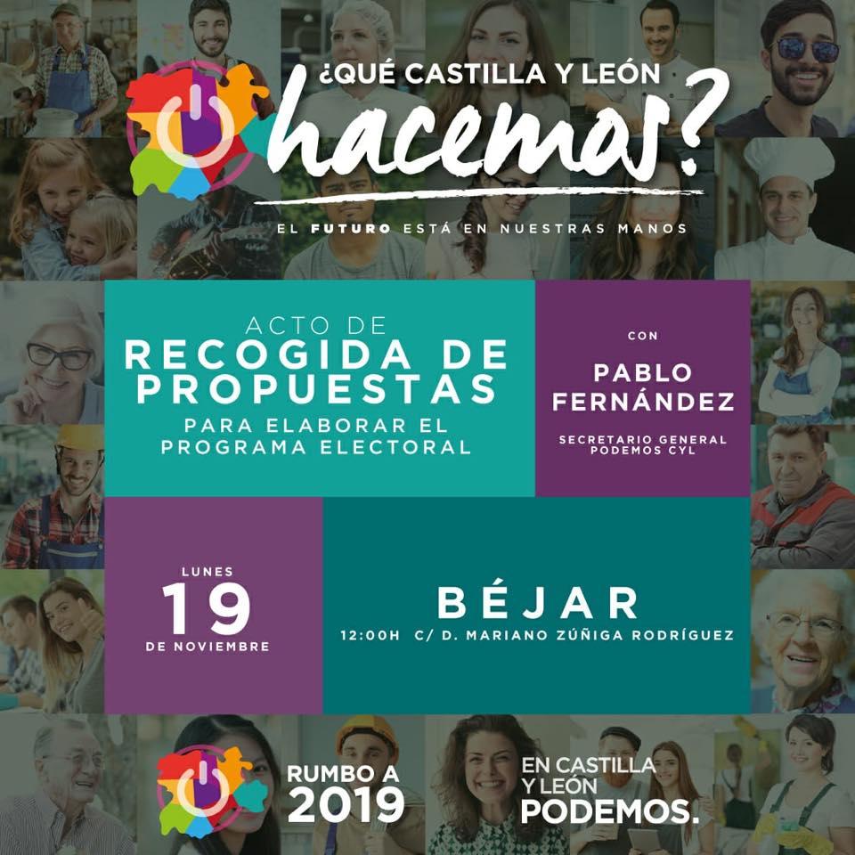 Podemos Béjar y Comarca organiza una 'Recogida de propuestas' para la elaboración de sus programas electorales