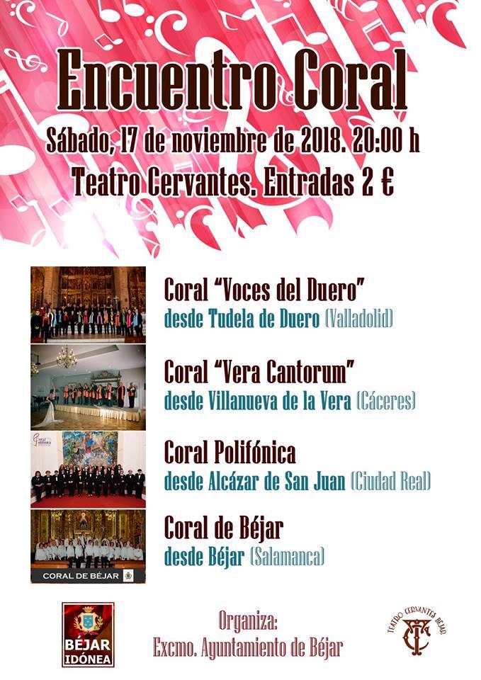 """""""Encuentro Coral"""" el sábado 17 de noviembre a las 20 horas en el Teatro Cervantes"""