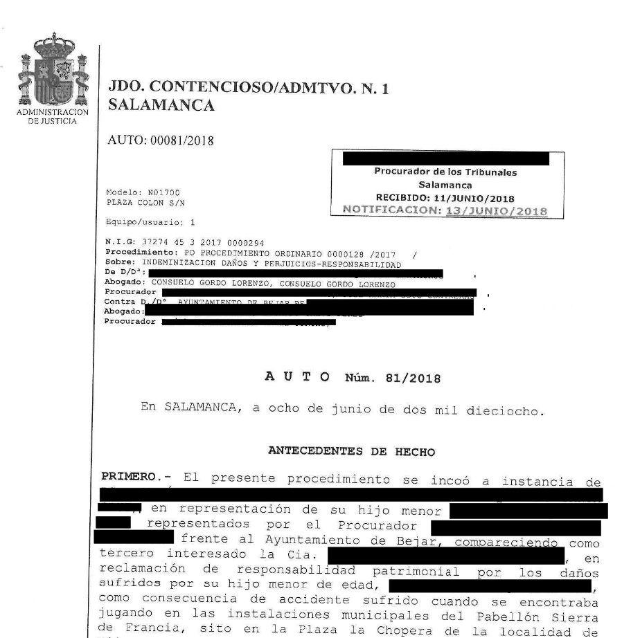 El Ayuntamiento de Béjar indemniza a una familia bejarana con 42.500€