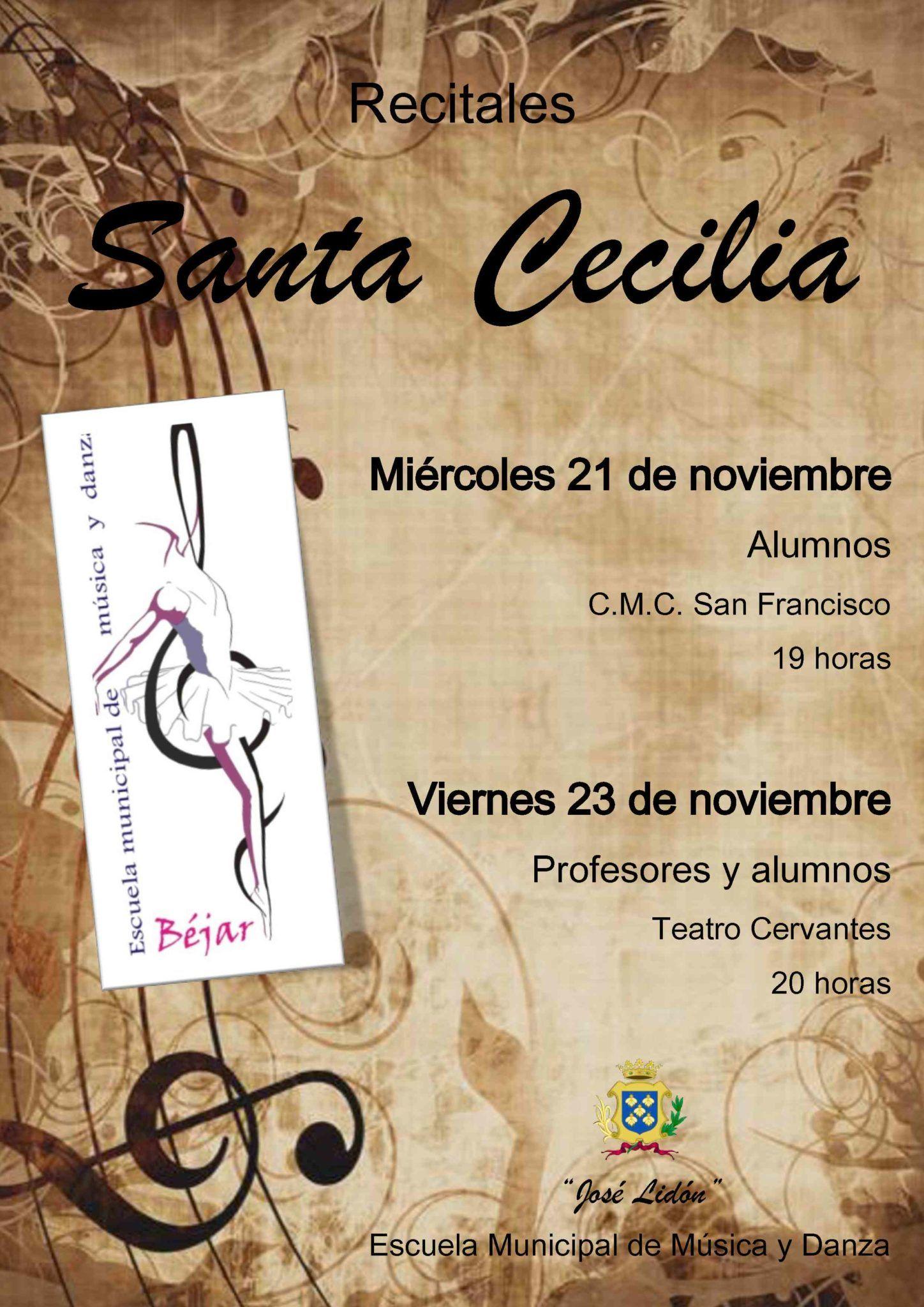 """La Escuela Municipal de Música y Danza """"José Lidón"""" de Béjar celebrará Santa Cecilia con dos actuaciones"""