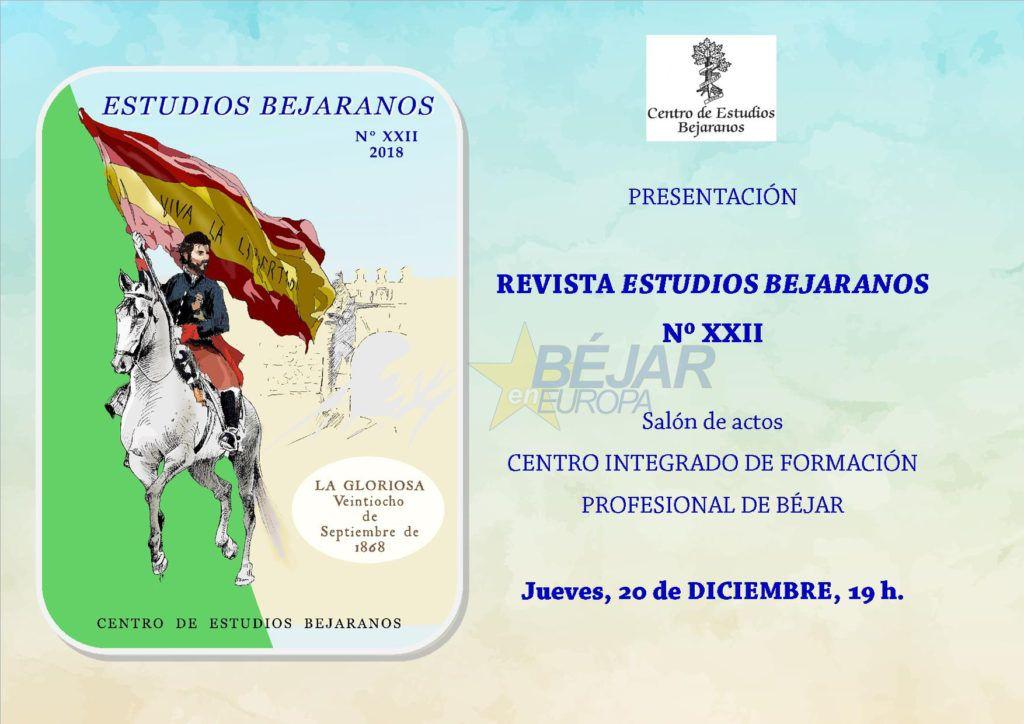 """Presentación de la revista """"Estudios Bejaranos"""" número XXII"""