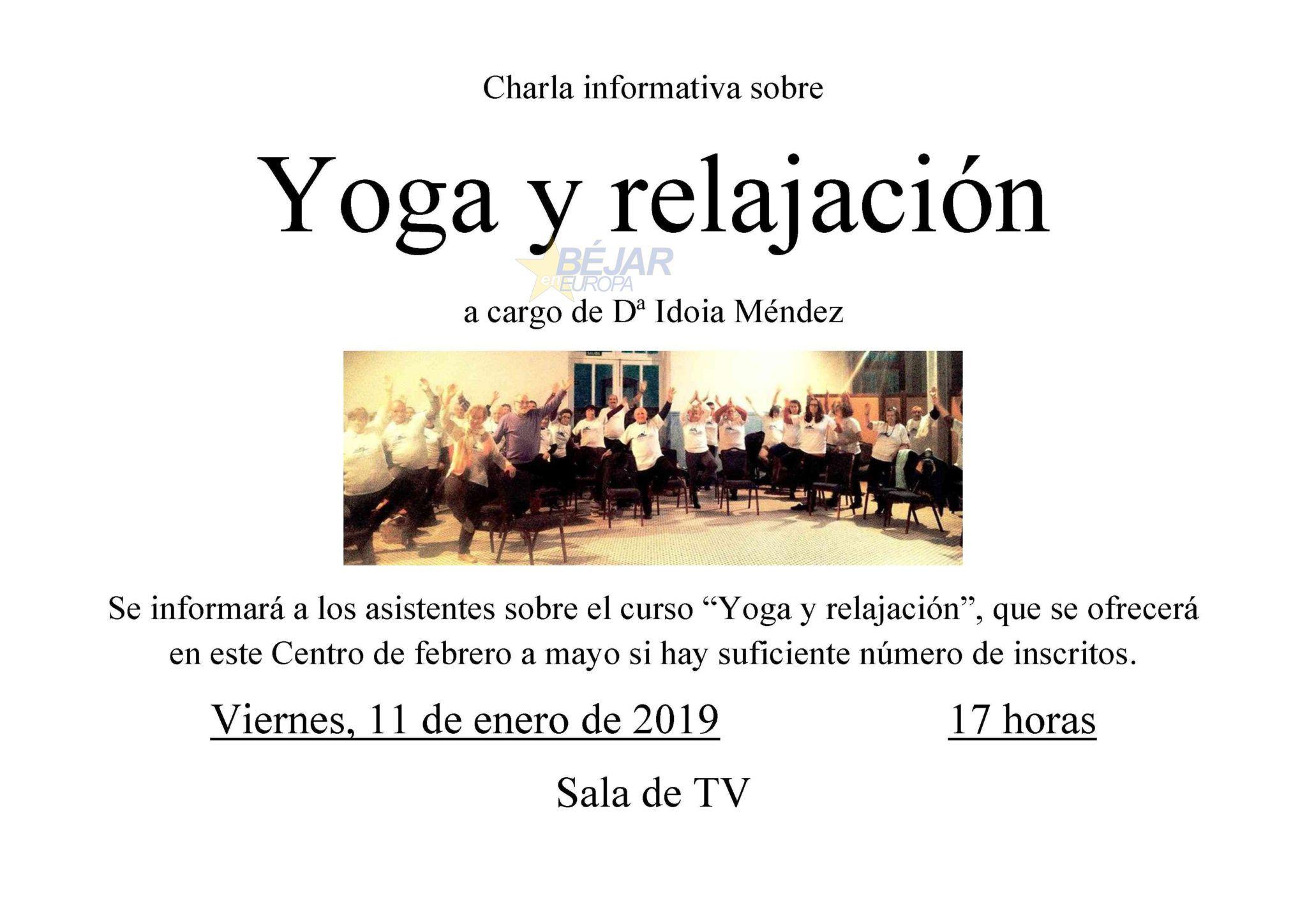 Charla informativa sobre Yoga y relajación