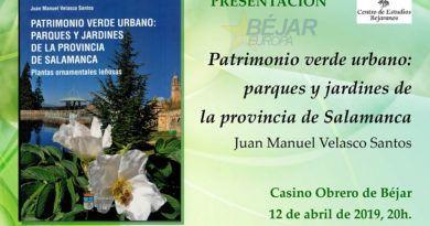 Juan Manuel Velasco Santos presentará en Béjar su libro - CEB